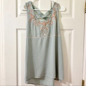 Knox Rose Cross Back Floral Tunic Tank NWOT